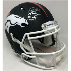 """Peyton Manning Signed Broncos LE Matte Black Full-Size Authentic On-Field Speed Helmet Inscribed """"5x"""