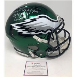 """Carson Wentz Signed Eagles LE Full-Size Authentic On-Field Chrome Speed Helmet Inscribed """"Philly Nat"""