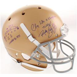 Rudy Ruettiger Signed Notre Dame Fighting Irish Full-Size Helmet with Original Hand-Drawn Play Sketc