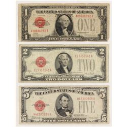 1928 U.S. Red Seal Bank Note Set of (3) with $1, $2  $5
