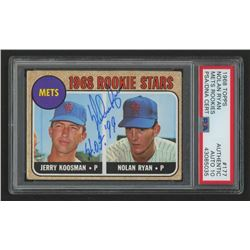 """Nolan Ryan Signed 1968 Topps #177 Rookie Stars RC Inscribed """"H.O.F. '99"""" (PSA Encapsulated)"""