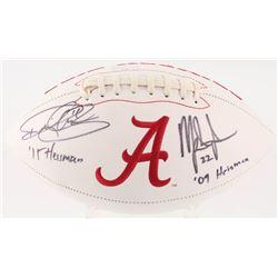 """Derrick Henry  Mark Ingram Signed Alabama Crimson Tide Logo Football Inscribed """"'15 Heisman""""  """"'09 H"""