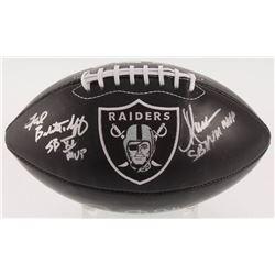 Marcus Allen, Fred Biletnikoff  Jim Plunkett Signed Oakland Raiders Logo Football with (3) Super Bow