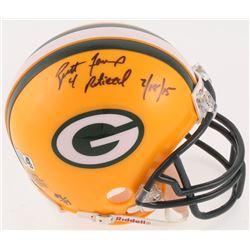 """Brett Favre Signed Green Bay Packers Mini-Helmet Inscribed """"4 Retired""""  """"7/18/15"""" (Radtke COA)"""