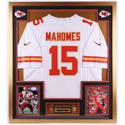 Patrick Mahomes Kansas City Chiefs 32x36 Custom Framed Jersey Display with Kansas City Chiefs Pins