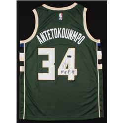 "Giannis Antetokounmpo Signed Milwaukee Bucks Jersey Inscribed ""MVP 18"" (Radtke COA)"