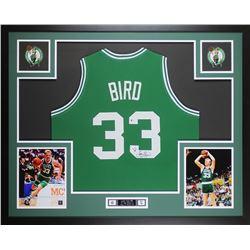 Larry Bird Signed 35x43 Custom Framed Jersey (Beckett COA  Bird Hologram)