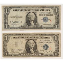 R  S Experimental Pair of 1935-A $1 One Dollar Silver Certificate Bank Notes