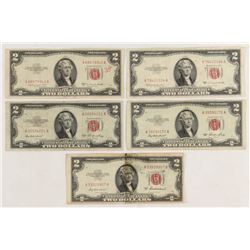 Lot of (5) 1953 $2 Two-Dollar Red Seal United States Legal Tender Notes
