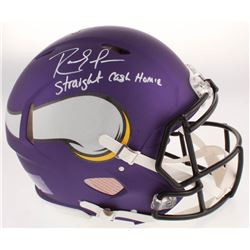 "Randy Moss Signed Minnesota Vikings Full-Size Authentic On-Field Speed Helmet Inscribed ""Straight Ca"