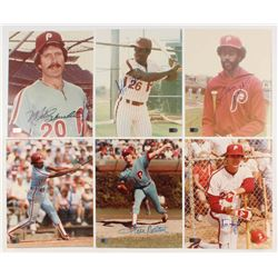 Lot of (6) Signed Philadelphia Phillies Legends 8x10 Photos with Jeff Stone, Mike Schmidt, Gary Madd