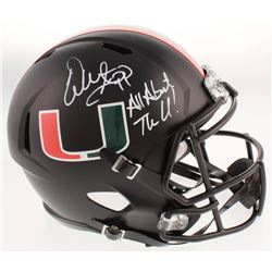 "Warren Sapp Signed Miami Hurricanes Full-Size Speed Helmet Inscribed ""All About The U!"" (Beckett COA"