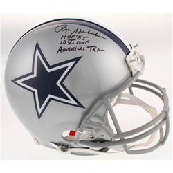 "Roger Staubach Signed Dallas Cowboys Full-Size Authentic On-Field Helmet Inscribed ""HOF '85"", ""SB VI"
