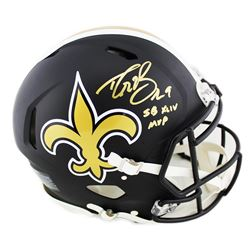 Drew Brees Signed New Orleans Saints Full-Size Authentic On-Field Matte Black Speed Helmet Inscribed