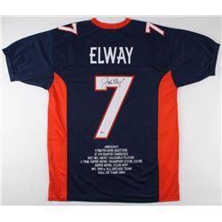 John Elway Signed Career Highlight Stat Jersey (Beckett COA)