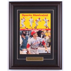 """Pete Rose Signed 14.5x18.5 Custom Framed 1968 Sports Illustrated Magazine Display Inscribed """"1st SI"""
