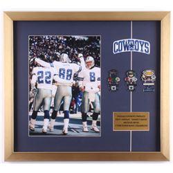 Michael Irvin, Emmitt Smith  Troy Aikman Dallas Cowboys 19x21 Custom Framed Photo Display with (3) S