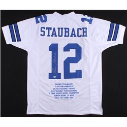 Roger Staubach Signed Career Highlight Stat Jersey (Beckett COA)