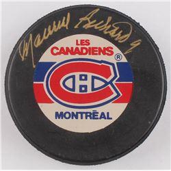 Maurice Richard Signed Montreal Canadiens Logo Hockey Puck (Beckett COA)