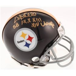 "Donnie Shell Signed Pittsburgh Steelers Mini Helmet Inscribed ""SB IX, X, XIII, XIV Champ"" (Jersey So"
