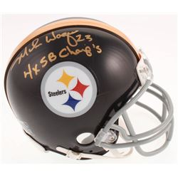 """Mike Wagner Signed Pittsburgh Steelers Mini Helmet Inscribed """"4x SB Champ's"""" (Jersey Source COA)"""