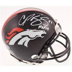 "Champ Bailey Signed Denver Broncos Mini Helmet Inscribed ""HOF 19"" (Beckett COA)"