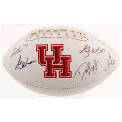 Houston Cougars Logo Football Signed by (5) with Greg Ward Jr., Kevin Kolb, Andre Ward, David Klingl
