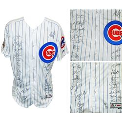 2016 Chicago Cubs White Pinstripe Majestic Authentic Jersey Team-Signed by (24) with Kris Bryant, An