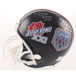 Phil Simms  Ottis Anderson Signed New York Giants Super Bowl XXI  XXV Logo Full-Size Helmet Inscribe