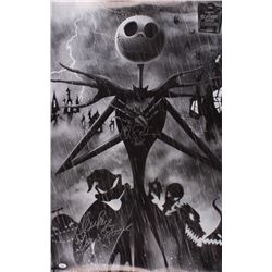 """Ken Page  Chris Sarandon Signed """"The Nightmare Before Christmas"""" 22.5x34 Poster Inscribed """"Oogie Boo"""