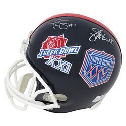"Phil Simms  Jeff Hostetler Signed New York Giants ""Super Bowl XXI  XXV"" Full-Size Helmet (Schwartz C"