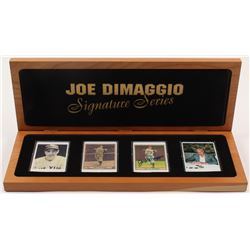 Lot of (4) Joe DiMaggio LE Porcelain Cards with (1) Signed  Display Case (Beckett LOA)