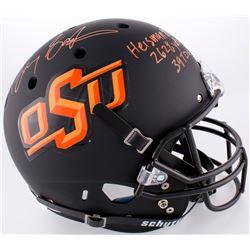 "Barry Sanders Signed Oklahoma State Cowboys Matte Black Full-Size Helmet Inscribed ""Heisman 88"", ""26"