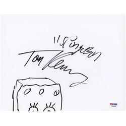 "Tom Kenny Signed ""SpongeBob SquarePants"" 8.5x11 Hand-Drawn Sketch Inscribed ""SpongeBob"" (PSA Hologra"