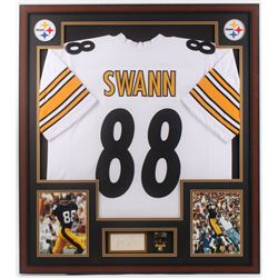 Lynn Swann Signed Pittsburgh Steelers 32x36 Custom Framed Cut Display with Super Bowl Pin (PSA)