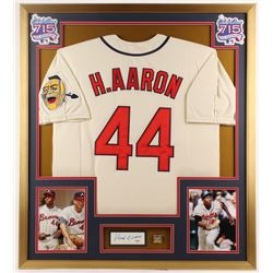 Hank Aaron Signed Atlanta Braves 32x36 Custom Framed Cut Display with Replica Ring (PSA COA)