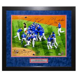 2016 Chicago Cubs World Series 25x27 Custom Framed Photo Display Team-Signed by (26) with Kris Bryan