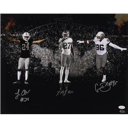 Johnathan Abram, Clelin Ferrell  Trayvon Mullen Signed LE Oakland Raiders 16x20 Photo (JSA COA)