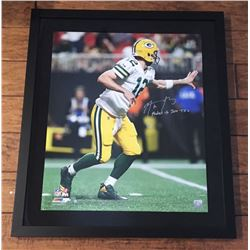 """Aaron Rodgers Signed Green Bay Packers 24x28 Custom Framed LE Photo Inscribed """"Fastest to 300 TD's"""""""