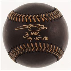 """Trevor Story Signed Black Leather OML Baseball Inscribed """"3 HR 9-5-18"""" (JSA COA)"""
