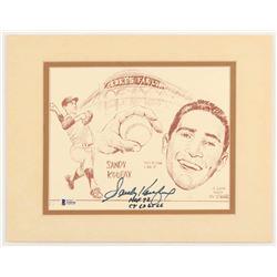 "Sandy Koufax Signed Los Angeles Dodgers 11x14 Custom Matted Print Display Inscribed ""HOF 72""  ""CY 63"