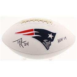 Ty Law Signed New England Patriots Logo Football Inscribed  HOF 19  (Beckett COA)