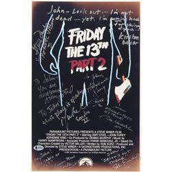 """Friday The 13th Part 2"" 11x17 Movie Poster Print Signed by (8) with Adrienne King, John Furey, Kirs"