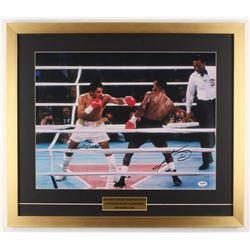 Sugar Ray Leonard  Roberto Duran Signed 22x25.5 Custom Framed Photo Display (PSA COA)