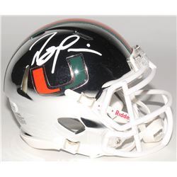 Ray Lewis Signed Miami Hurricanes Chrome Speed Mini-Helmet (Beckett COA)