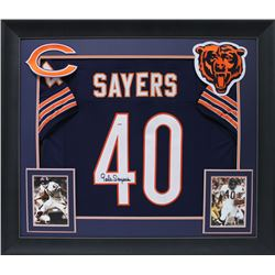 Gale Sayers Signed 32x37 Custom Framed Jersey Display (PSA COA)