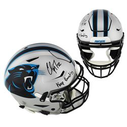 Christian McCaffrey Signed Carolina Panthers Full-Size Authentic On-Field SpeedFlex Helmet Inscribed