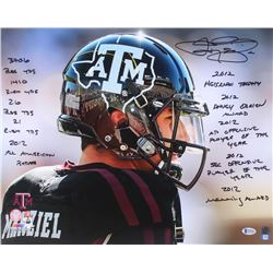 Johnny Manziel Signed Texas AM Aggies 16x20 Photo with (10) Career Stat Inscriptions (Beckett COA)