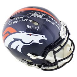 Terrell Davis Signed Denver Broncos Full-Size Authentic On-Field Speed Helmet with Multiple Inscript