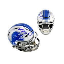 "Kerryon Johnson Signed Detroit Lions Full-Size Authentic On-Field SpeedFlex Helmet Inscribed ""Motown"